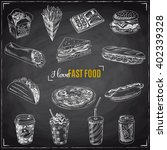set of fast food. illustration... | Shutterstock . vector #402339328