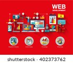 flat web design template of one ... | Shutterstock .eps vector #402373762