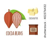 superfood cocoa set in flat... | Shutterstock .eps vector #402376432