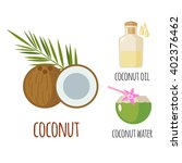 superfood coconut set in flat... | Shutterstock .eps vector #402376462