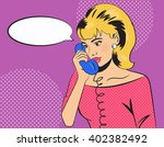 talking on the phone. girl in... | Shutterstock .eps vector #402382492