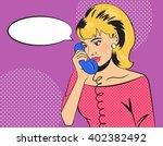talking on the phone. girl in... | Shutterstock .eps vector #402382492
