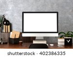 Stock photo comfortable workplace with modern computer 402386335