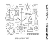 sail set. sea and summer... | Shutterstock .eps vector #402386596