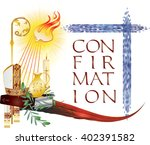 sacrament of confirmation ... | Shutterstock .eps vector #402391582