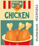 fried chicken poster menu in... | Shutterstock .eps vector #402392812