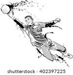 goalkeeper catches the ball.... | Shutterstock .eps vector #402397225