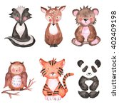 Stock photo woodland animals set of watercolor illustrations 402409198