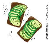avocado toast. detailed avocado ...   Shutterstock .eps vector #402422272