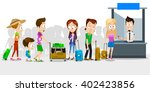 big crowd of people at airport... | Shutterstock .eps vector #402423856