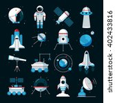 Spacecrafts Flat Icons Set Wit...