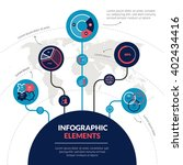 Space planetary science research and exploration flat infographic elements set with orbits  circle infochart statistics vector illustration | Shutterstock vector #402434416