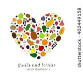 hand drawn fruits in heart... | Shutterstock .eps vector #402449158