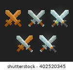 crossed swords icon set for... | Shutterstock .eps vector #402520345