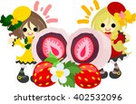 big strawberry rice cake and a... | Shutterstock .eps vector #402532096