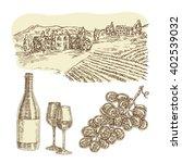 wine set. hand drawn bottle of... | Shutterstock . vector #402539032