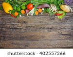 fresh vegetables on wooden... | Shutterstock . vector #402557266