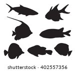 fish set silhouettes on the... | Shutterstock .eps vector #402557356