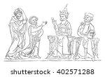 Stock vector offa is presented to the pope vintage engraved illustration colorful history of england 402571288