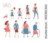 set of cartoon girls in various ... | Shutterstock .eps vector #402581362