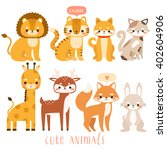 big set of cute cartoon animals.... | Shutterstock .eps vector #402604906