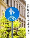 walking and cycling way sign...   Shutterstock . vector #402612322