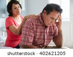 wife comforting senior husband... | Shutterstock . vector #402621205