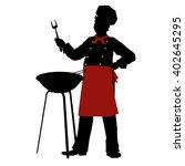 silhouette chef cooks barbecue... | Shutterstock . vector #402645295