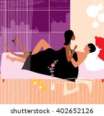man and woman lying in the bed. ... | Shutterstock .eps vector #402652126