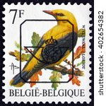 Small photo of CROATIA ZAGREB, 21 FEBRUARY 2016: a stamp printed in the Belgium shows Old World Oriole, Oriolidae, passerine birds, circa 1992