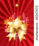 Christmas background with decorations and bow / vector - stock vector