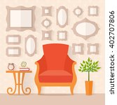 living room with furniture and... | Shutterstock .eps vector #402707806