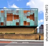 Small photo of LONDON - MARCH 31, 2016. The oxidized copper clad Haverstock School; a comprehensive school designed by Feilden Clegg Bradley Architects for 1225 students aged 11 to 18 at Camden, north London.