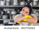 troubled woman leaning on a mop ... | Shutterstock . vector #402752062