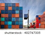 crane lifting up container in... | Shutterstock . vector #402767335