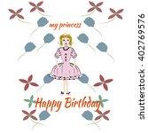 princess pink birthday card   Shutterstock .eps vector #402769576