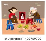 villain hitting   a traditional ... | Shutterstock .eps vector #402769702