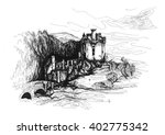 freehand ink drawing. eilean... | Shutterstock . vector #402775342