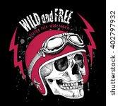 skull in a motorcyclist helmet. ... | Shutterstock .eps vector #402797932