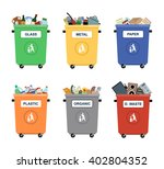 Garbage Cans Vector Flat...
