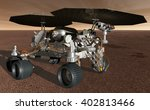 3D Illustration - Mars robotic prospecting rover seeking ice deposits - stock photo