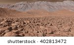 3D Illustration - Stony Martian landscape with seeping eroded escarpment	 - stock photo