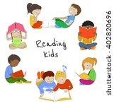 vector set of reading kids.... | Shutterstock .eps vector #402820696