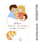 Stock vector family of parents and two babies sleeping together hugging each other co sleeping bed sharing 402820708
