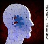 brain with jigsaw piece against ... | Shutterstock . vector #402825268