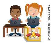 children interacting with laptop | Shutterstock .eps vector #402881962