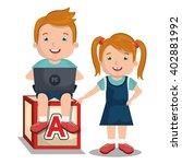 children interacting with laptop | Shutterstock .eps vector #402881992