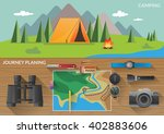 hiking flat horizontal banners... | Shutterstock .eps vector #402883606