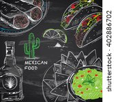 hand drawn mexican food on... | Shutterstock .eps vector #402886702
