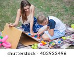 older sister trying to teach... | Shutterstock . vector #402933496